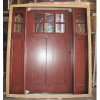 Mahogany 6-Lite Craftsman Solid Wood Entry Door