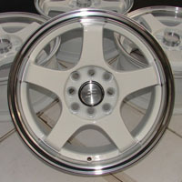 "15"" Effect Wheels White Rims 4 Lugs Spectra 5 Lancer Altima Cube Sentra Civic"