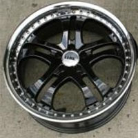 20 x 8.5 / 20 x 10 Inch Gloss Black w/ Machined Lip Automotive Rims - Set of Four