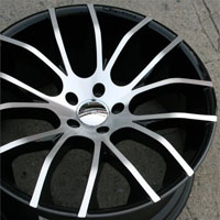 "20 x 8.5 / 20 x 10.0 Inch Gloss Black w/ Machined Face Finish Automotive Rims - 20"" Wheels - Set of Four"