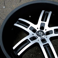 "22"" x 9.0"" / 22"" x 10.5"" Matte Black w/ Machined Face Automotive Rims 22"" Wheels - Set of Four"