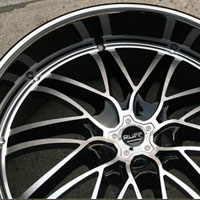 "22"" x 9.0"" / 22"" x 10"" Inch Glossy Black w/ Machined Face & Bezel Automotive Rims 22"" Wheels - Set of Four"
