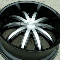 "22 x 8.5 Inch Glossy Black w/ Machined Face Automotive Rims 22"" Wheels - Set of 4"