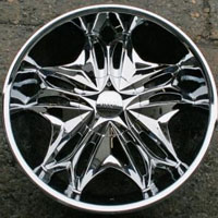 "22 x 8.5 Inch Triple Plated Chrome Automotive Star Rims 22"" Wheels - Set of Four"