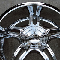 "20"" x 8.5"" / 20"" x 10"" Inch Triple Plated Chrome Automotive Rims - Set of Four"