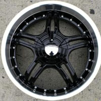 "20"" x 8.5"" Inch Glossy Black w/ Machined Lip Automotive Rims - Set of Four"