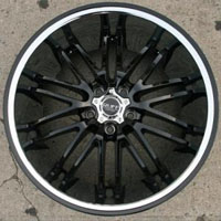 "20 x 10 - Glossy Black w/ Chrome Lip Automotive Rims 20"" Wheels Set of Four"