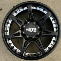 "20 x 9.0 Inch Satin Black w/ Chrome Tabs - 8 Lug Automotive Rims - 20"" Wheels - Set of Four"