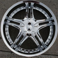 "22 x 8.5 Inch Triple Plated Chrome Automotive Star Rims 22"" Wheels - Set of 4"