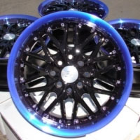 "15 Inch Black w/ Blue Lip Automotive Rims 15"" Wheels - Set of 4"