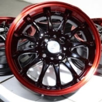 "15 Inch Black w/ Red Lip Automotive Rims 15"" Wheels - Set of 4"