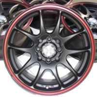 "15 Inch Matte Black w/ Red Ring Automotive Rims 15"" Wheels - Set of 4"