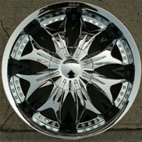 "20 x 8.5 Inch Triple Plated Chrome Finish Automotive Rims - 20"" Wheels - Set of Four"