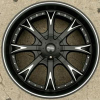 "20 x 8.5 - Matte Black w/ Machined Automotive Rims 20"" Wheels Set of Four"