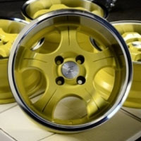 "15 Inch Yellow w/ Machine Lip Automotive Rims 15"" Wheels - Set of 4"