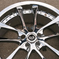 "20"" x 8.5"" / 20"" x 9.5"" Inch Triple Plated Chrome Automotive Rims - Set of Four"