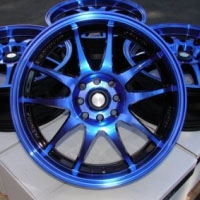 "15 Inch Black w/ Blue Oil Face Automotive Rims 15"" Wheels - Set of 4"
