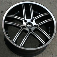 "20 x 8.5 / 20 x 10.0 Inch Matte Black w/ Machined Face & Bezel Automotive Rims - 20"" Wheels - Set of Four"