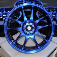 "17 Inch Black w/ Blue Oil Face Automotive Rims 17"" Wheels - Set of 4"