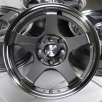 "15 Inch Gunmetal w/ Machine Lip Automotive Rims 15"" Wheels - Set of 4"