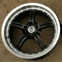 20 x 8.5 / 20 x 9.5 Inch Black w/ Machined Lip Automotive Rims - Set of Four
