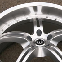 "20 x 8.5 / 20 x 9.5 Inch Hyper Silver w/ Machined Lip Automotive Star Rims 20"" Wheels Set of 4"