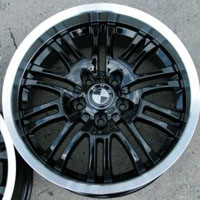 "18 x 8.0 / 18 x 9.0 Inch Black w/ Machined Lip Automotive Rims 18"" Wheels - Set of 4"