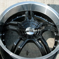 "19 x 8.5 / 19 x 9.5 Black w/ Machined Lip Automotive Rims 19"" Wheels - Set of 4"