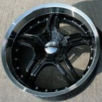 "20"" x 8.5"" / 20"" x 10"" Inch Black w/ Machined Lip Automotive Rims - Set of Four"
