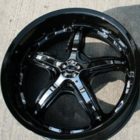 "19 x 8.5 / 19 x 9.5 - Black w/ Chrome Inserts Automotive Rims 19"" Wheels - Set of 4"