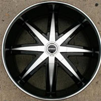 "22 x 8.5 Inch Gloss Black w/ Machined Face & Bezel Automotive Rims 22"" Wheels - Set of Four"