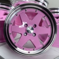 "15 Inch Pink w/ Machine Lip Automotive Rims 15"" Wheels - Set of 4"