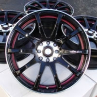 "17 Inch Black w/ Red Under Cut Ring Automotive Rims 17"" Wheels - Set of 4"