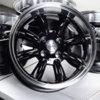 "15 Inch Black w/ Machine Lip Automotive Rims 15"" Wheels - Set of 4"