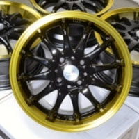 "15 Inch Black w/ Yellow Lip Automotive Rims 15"" Wheels - Set of 4"