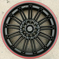 "20 x 7.5 - Matte Black w/ Red Stripe Automotive Rims 20"" Wheels - Set of 4"