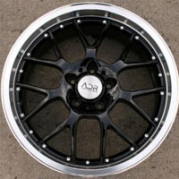 "19 Inch Black w/ Machined Lip Automotive Rims 19"" Wheels - Set of 4"