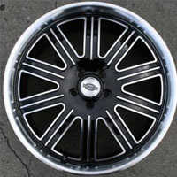 "22 x 9.0 Inch Black w/ Machined Face & Lip Automotive Rims 22"" Wheels - Set of 4"