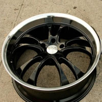 "20"" x 8.5"" / 20"" x 9.5"" Black w/ Machined Lip Automotive Rims - Set of Four"