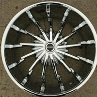 "22 x 8.5 Inch Triple Plated Chrome Automotive Sun Rims 22"" Wheels - Set of 4"