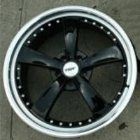 "19 x 8.0 / 19 x 9.5 Inch Gloss Black w/ Machined Lip Automotive Rims 19"" Wheels - Set of 4"