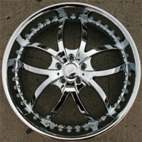 "22"" x 8.5"" Triple Plated Chrome Automotive Rims 22"" Wheels - Set of 4"