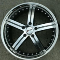 "19 x 8.0 / 19 x 9.5 - Gunmetal w/ Stainless Lip Automotive Rims 19"" Wheels - Set of 4"