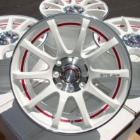 "15 Inch White w/ Red Ring Undercut Automotive Rims 15"" Wheels - Set of 4"
