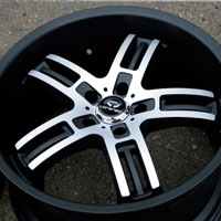 "20 x 8.5 / 20 x 10 Inch Matte Black w/ Machined Face Automotive Rims 20"" Wheels - Set of 4"