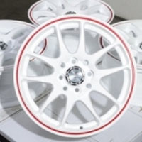 "15 Inch White w/ Red Ring Automotive Rims 15"" Wheels - Set of 4"