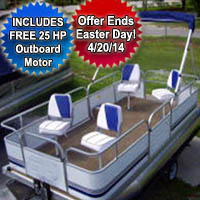 14' Pontoon Boat w/ Bimini Top + Wrap Around Fence