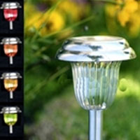 Set of 24 LED Color Changing Stainless Steel Outdoor Solar Lights