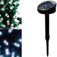 Solar Powered 100 LED 35-Foot White Decorating String Lights