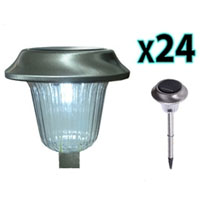 Brand New 24pc Stainless Steel Outdoor LED Solar Garden Wall Light